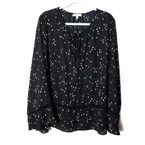 Marybelle Black & Cream Stars Blouse Size 3X